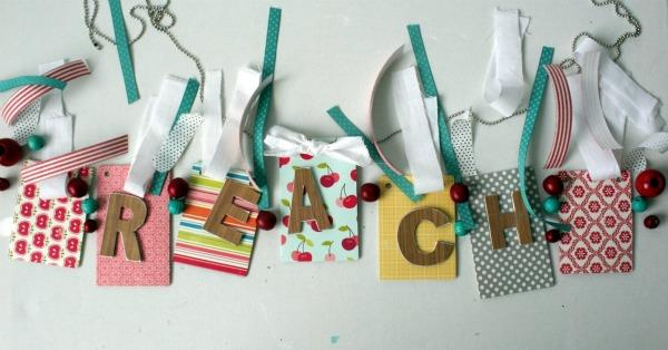 Tutorial for making a word banner out of crafty supplies by Wendy Smedley