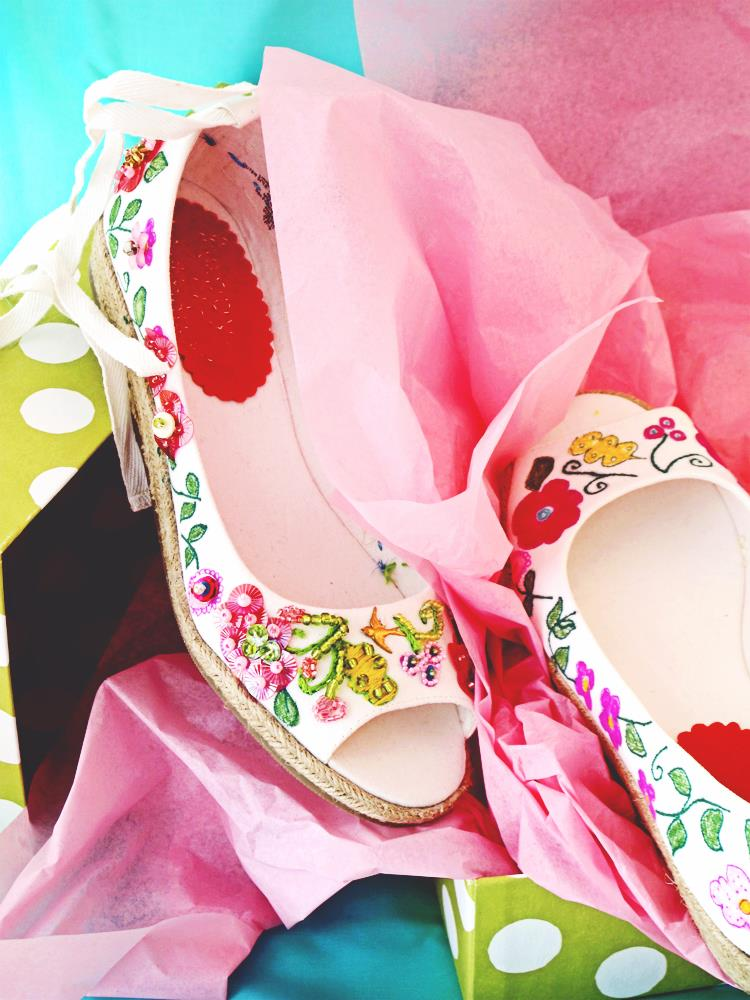 Add stitches, beads, and sequins to customize a plain pair of shoes