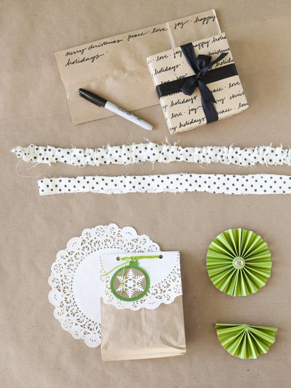 Take paper bags from trash to treasure by using them as your holiday wrapping paper.