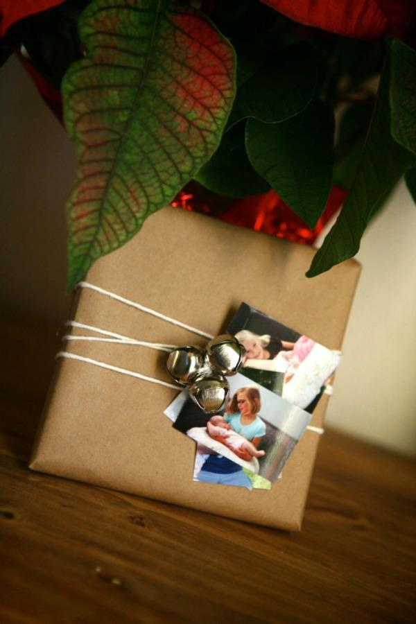 With a roll of brown paper and a few miscellaneous supplies you probably already have on hand (or can find easily) you can customize presents with your own photos