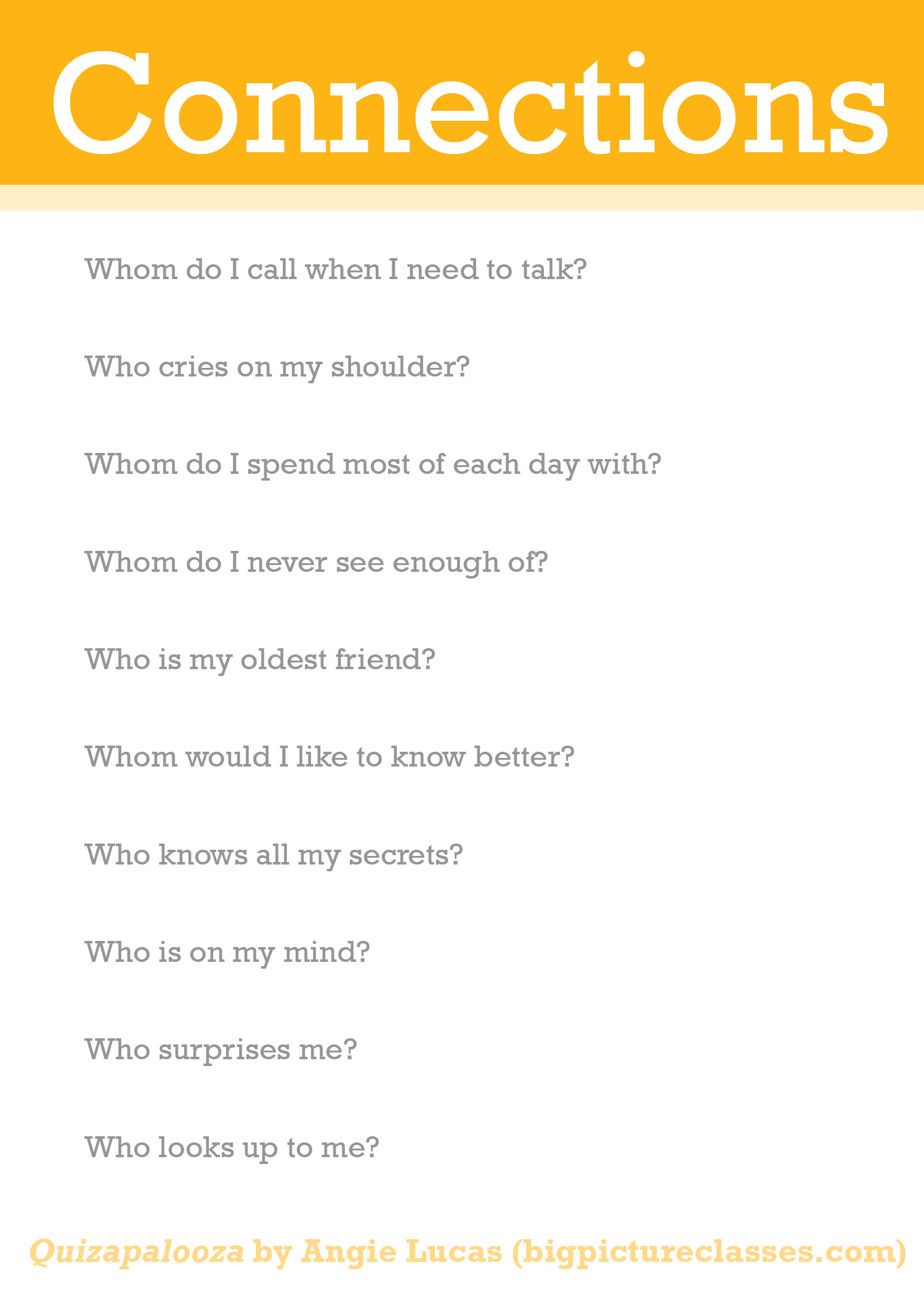 Use these quizzes and questions to help guide your storytelling