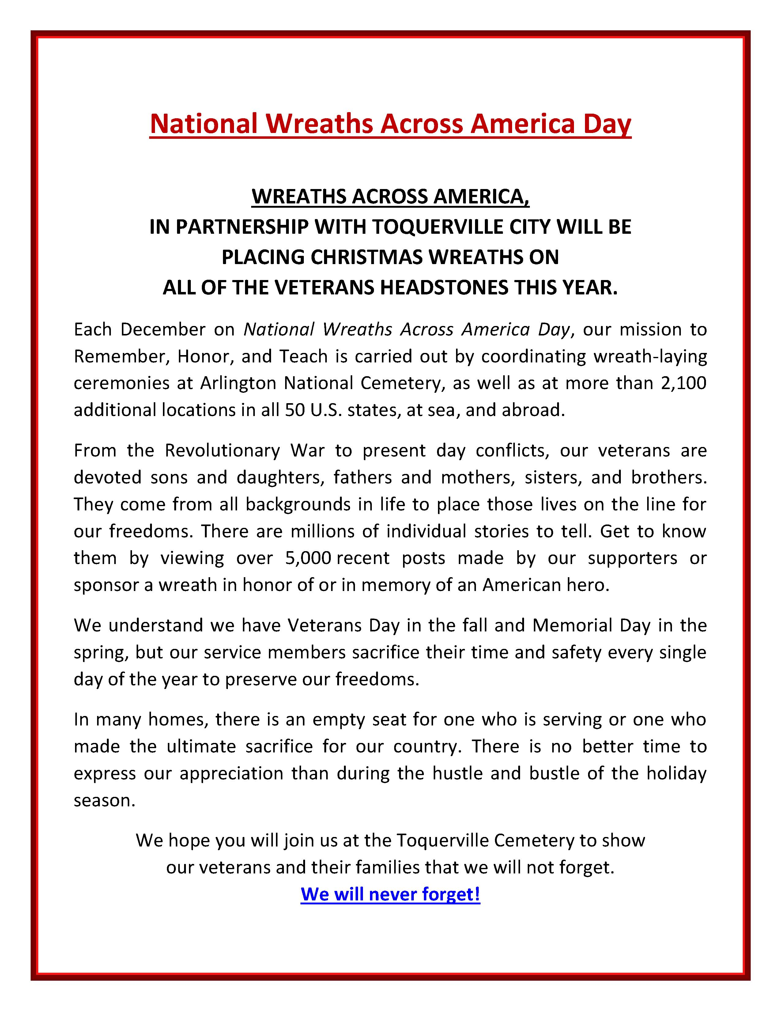 Toquerville Cemetery December 19th, 2020 at 10:00 a.m. Wreaths Across America Program