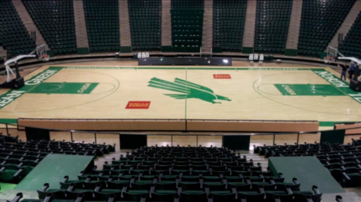 College hardwood basketball court