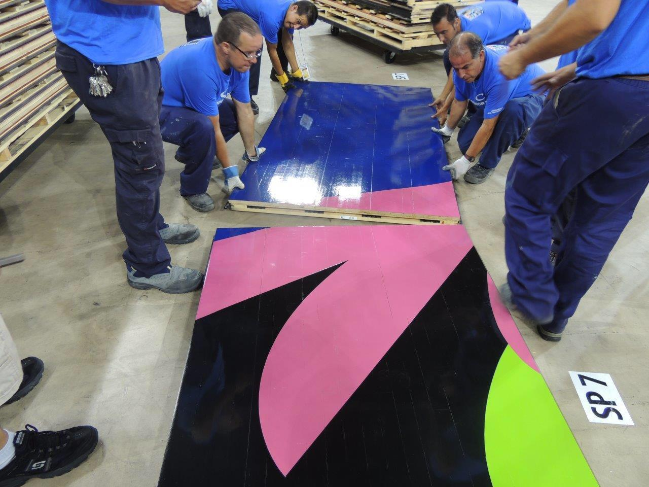 First panels of the FIBA basketball world cup courts sliding together