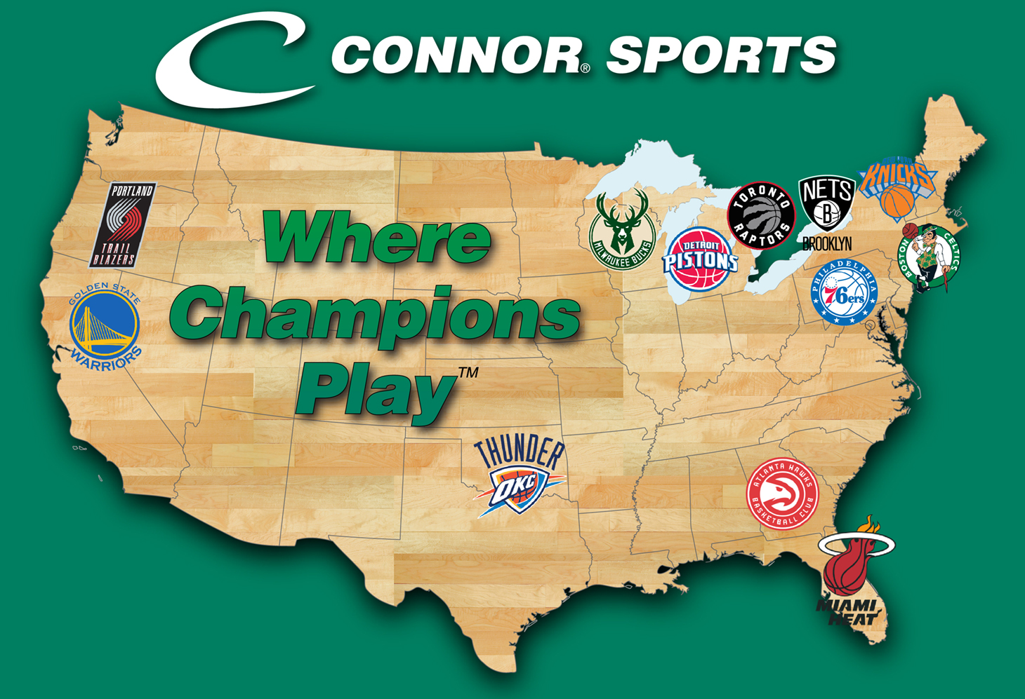 NBA hardwood basketball courts by Connor Sports