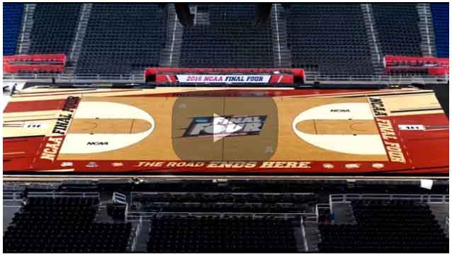 Badger Fan Installs the Floor for the Final Four in Indianapolis