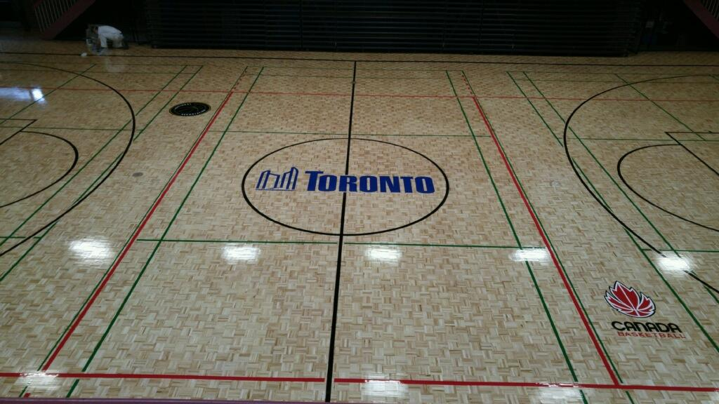 Refurbished basketball court at Maseryk Community Centre