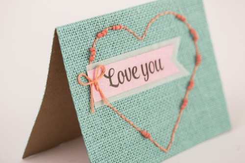 Love You Burlap Card