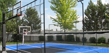 backyard basketball and backyard tennis court