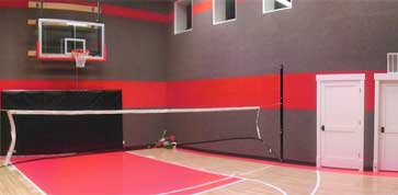 indoor home basketball court