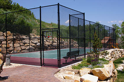 home basketball court and fencing