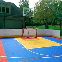 individualized colored backyard basketball court