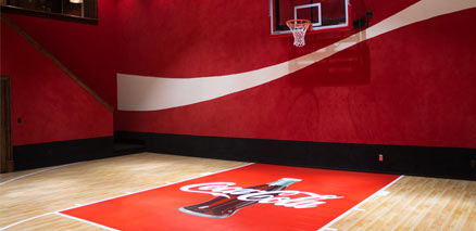 Custom Coca Cola Logo on Gym Flooring by Sport Court with Maple Select™