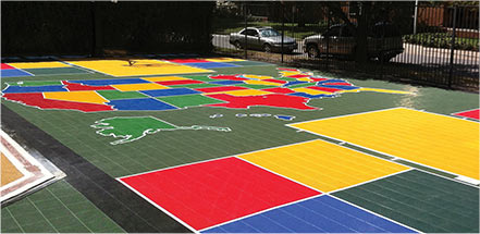 Outdoor Sport Court Tiles at Community Facility