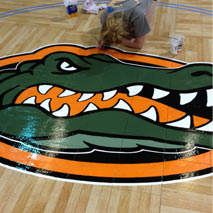 Gators Logo on Custom Sport Court Basketball Floor