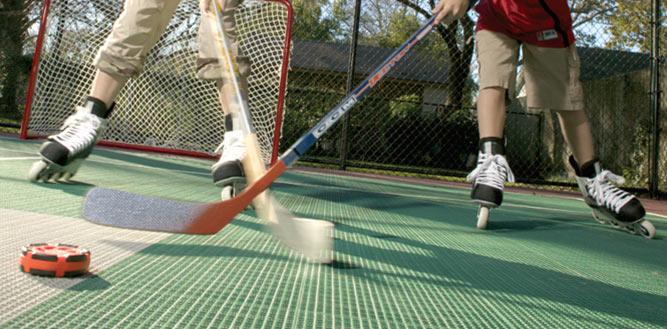 Rollerblade hockey on a Sport Court in Oregon