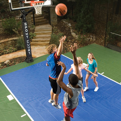 Backyard Basketball Court - Family Playing Basketball