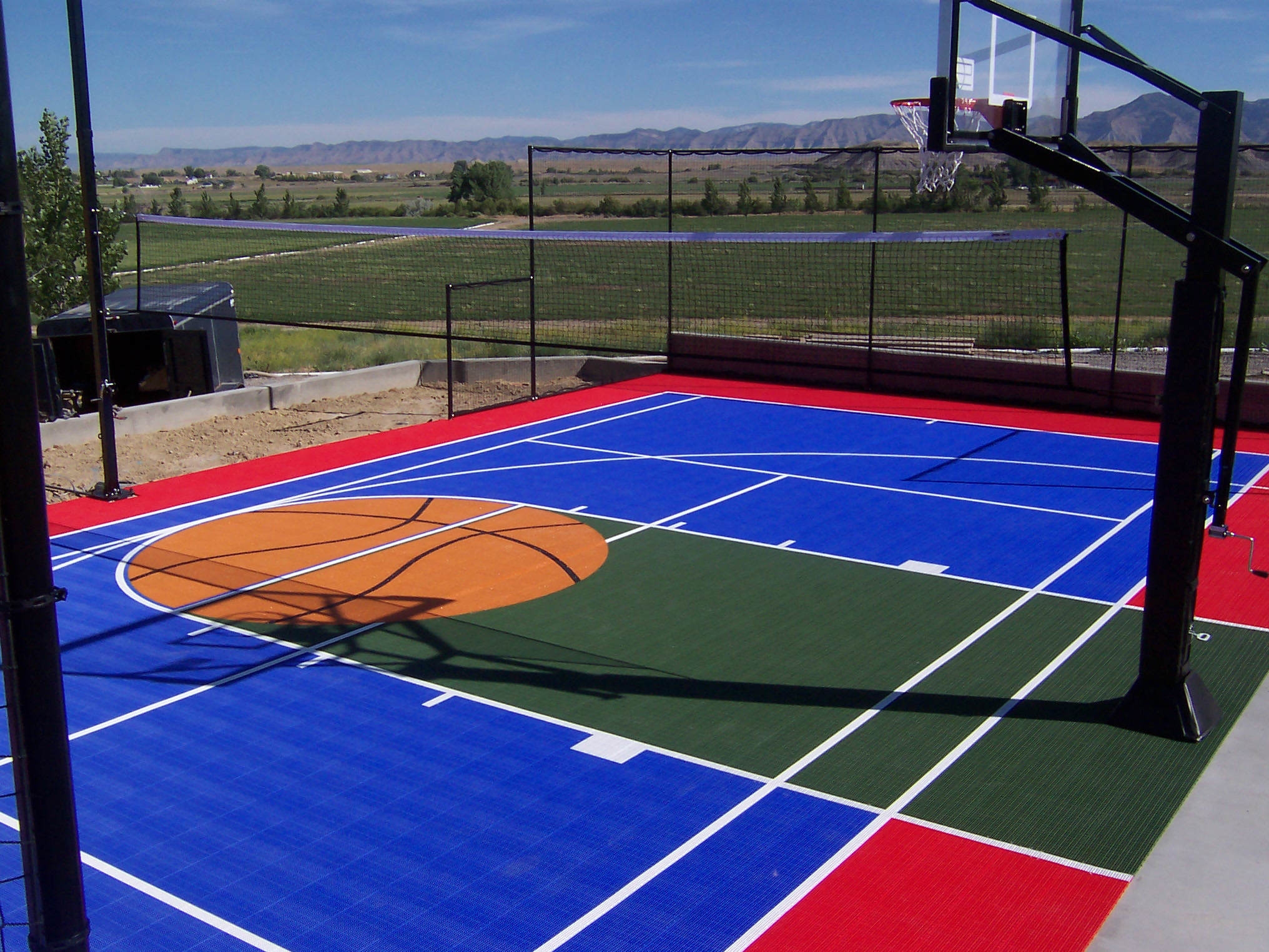 Backyard basketball court cost 91 backyard baseball for Sport court size