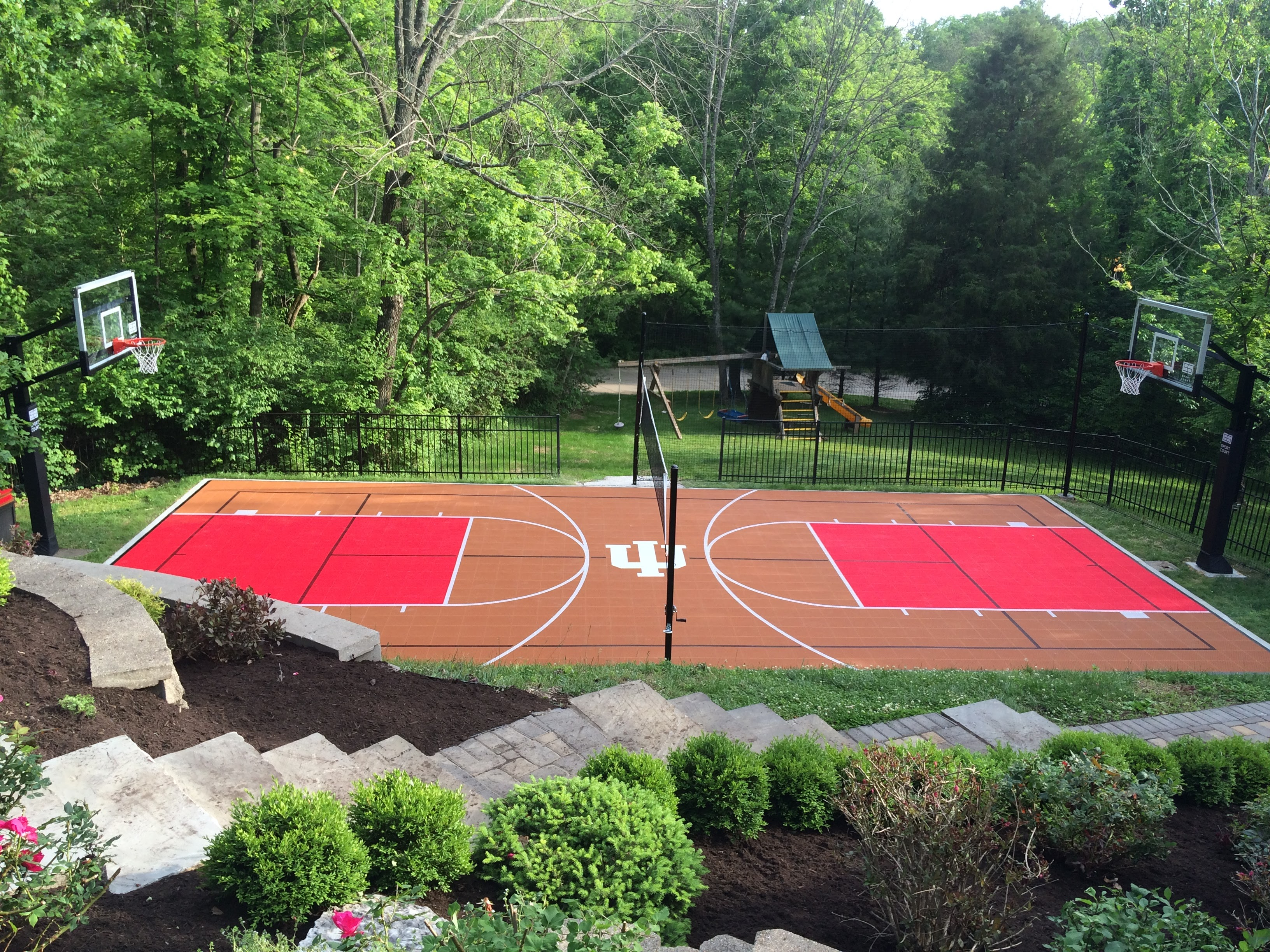 Choosing colors for your backyard court or home gym for Backyard sport court