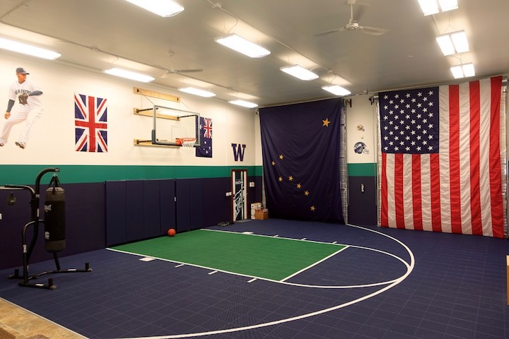 Customize your game court to match your favorite nba for Indoor basketball court design