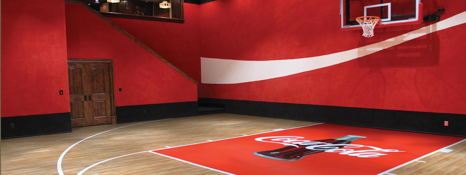 Image gallery home basketball gyms for Custom indoor basketball court