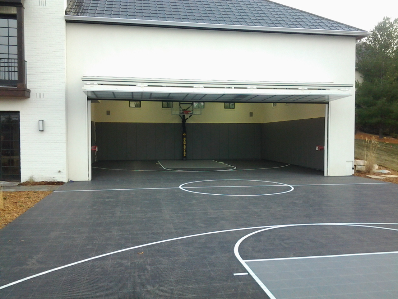 Gym flooring amazon backyard indoor and outdoor for Basketball hoop inside garage