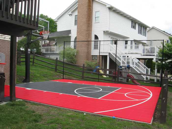 Small backyard basketball court outdoor goods for How to build your own basketball court