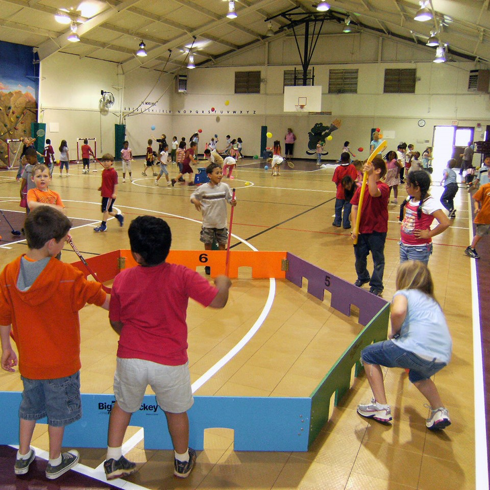 kids playing on sport court surface in school gym