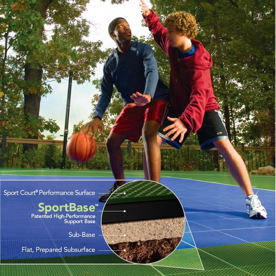 two boys dribbling a basketball on sport court backyard basketball court