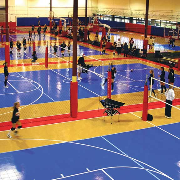 volleyball tournament with sport court surface