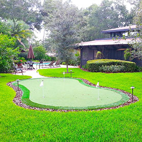 Backyard Home Putting Green in Palm Beach, Florida by Sport Court