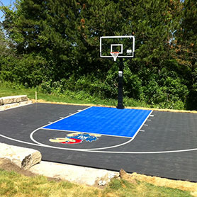 Home Basketball Court with Sport Court Hoop and Outdoor Flooring