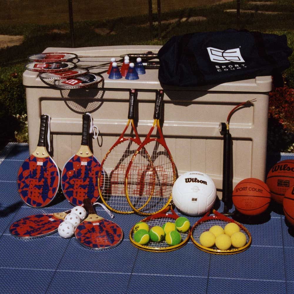 Sport Court fun packs with tennis, volleyball, basketball, and much more!