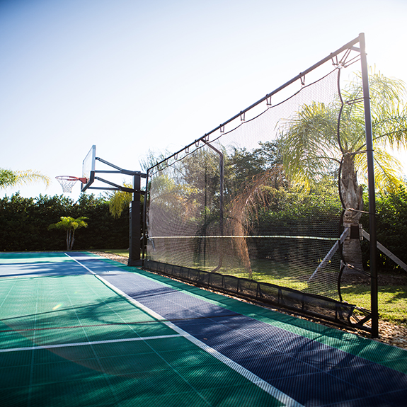 Sport Court Ball Containment on home basketball court