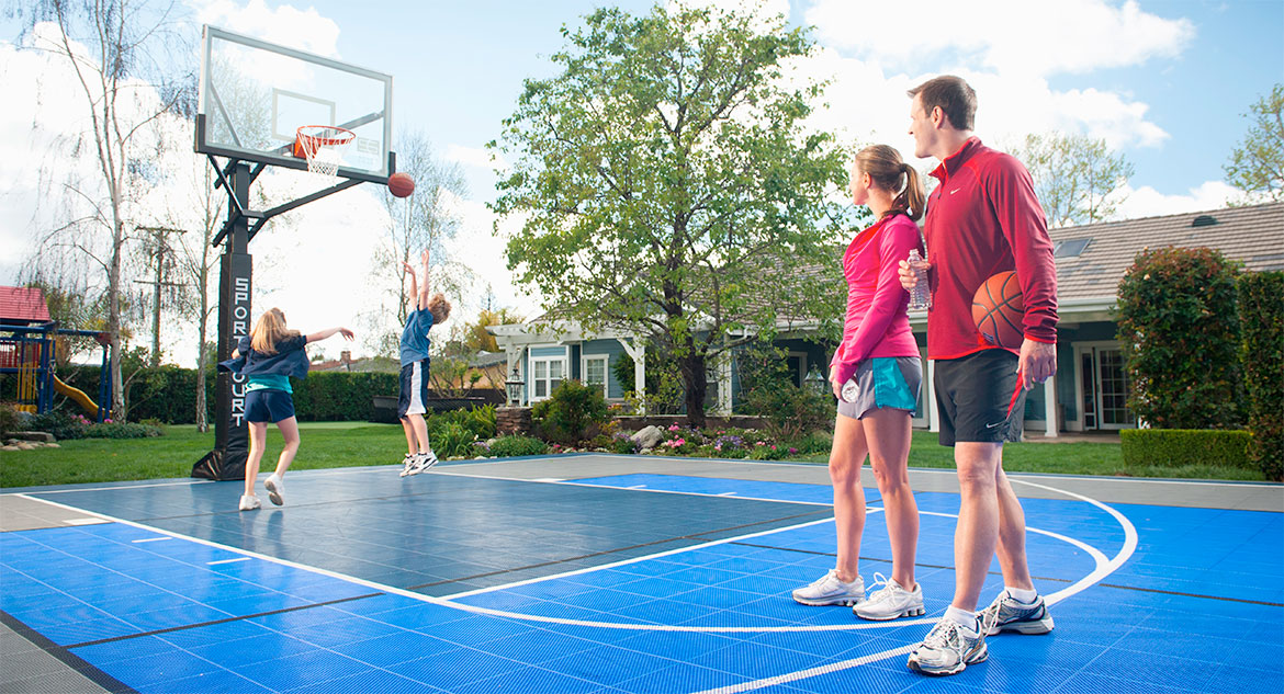 Backyard basketball court home tennis court home for How to build your own basketball court