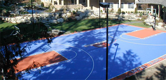 Outdoor indoor basketball courts backyard basketball for How much to build a half court basketball court