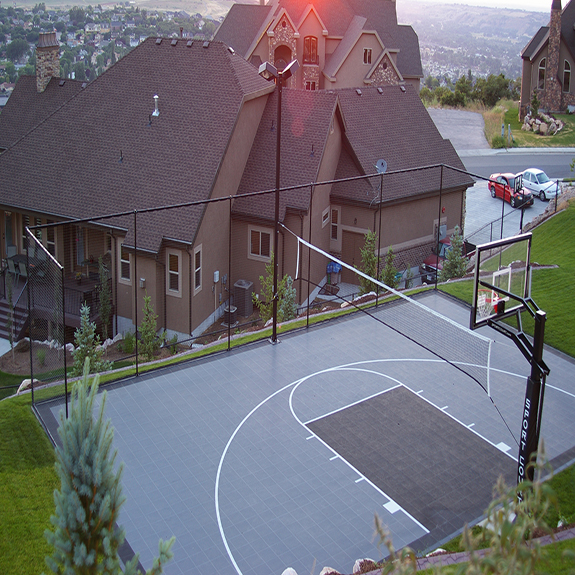 Backyard Basketball Court with Sport Court Containment System