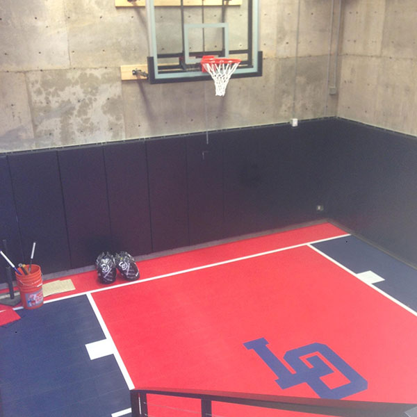 Inside red and black Sport Court