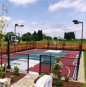 Custom backyard basketball court