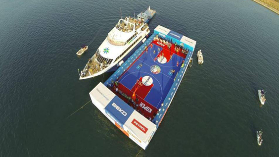 Floating Sport Court near Yacht