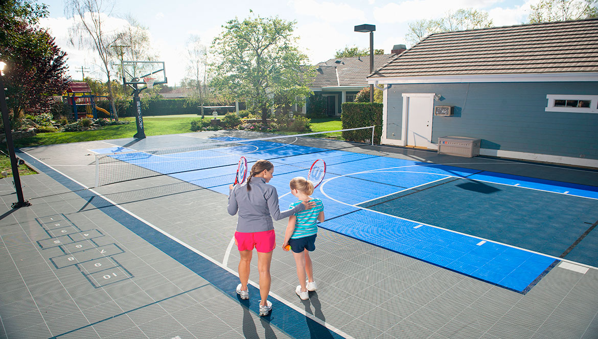Home Tennis Court & Basketball Court - Home Basketball Courts Backyard Tennis Court Home Putting Greens