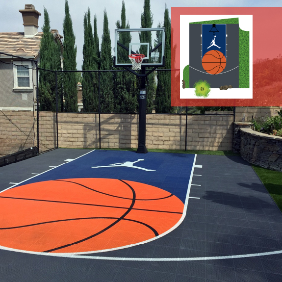 Custom Design Home Basketball Court Outdoor Flooring