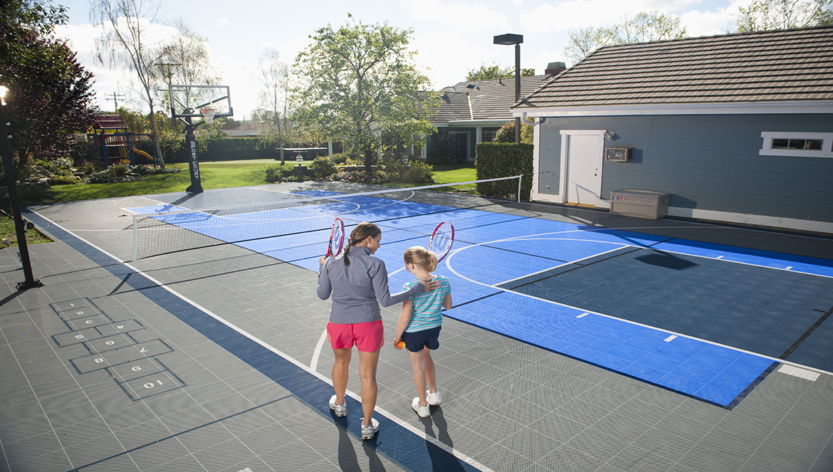 Home basketball court backyard tennis courts for Basketball court at home