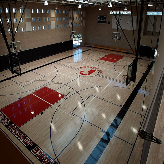 Hardwood Maple Basketball Court in School Gym by Sport Court