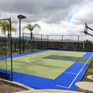 Home basketball court backyard tennis courts for Built in basketball court