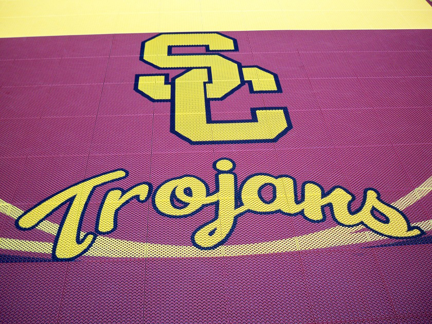 Trojans SC Custom Logo Basketball Court Gym Floor