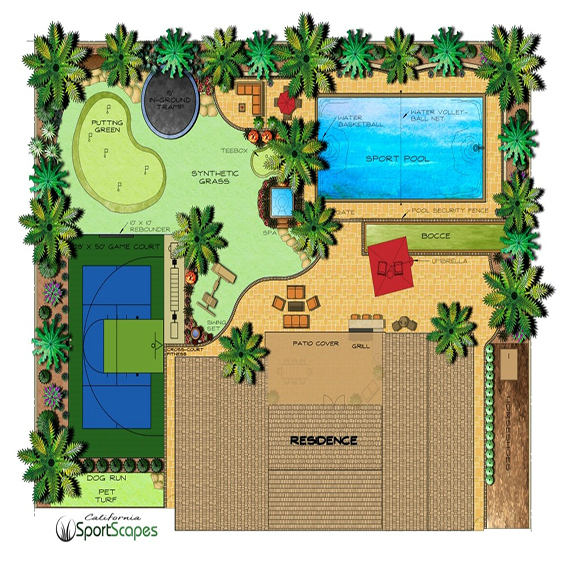 Synthetic Backyard Putting Green with custom Design