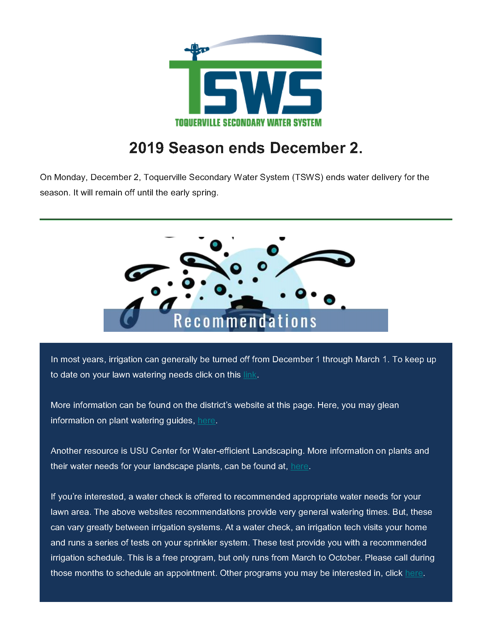 2019 Toquerville Secondary Water (TSWS) Irrigation Notice