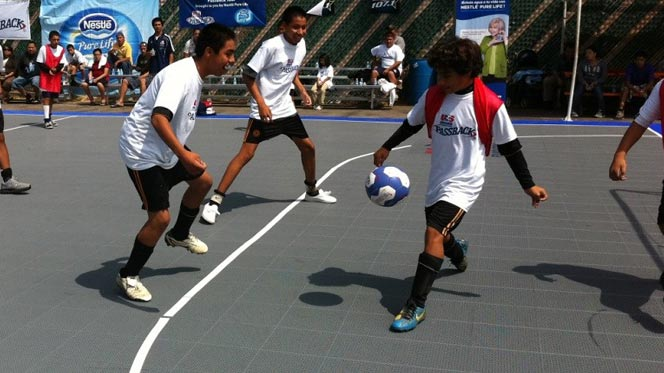 Outdoor Soccer on Athletic Tiles by Sport Court