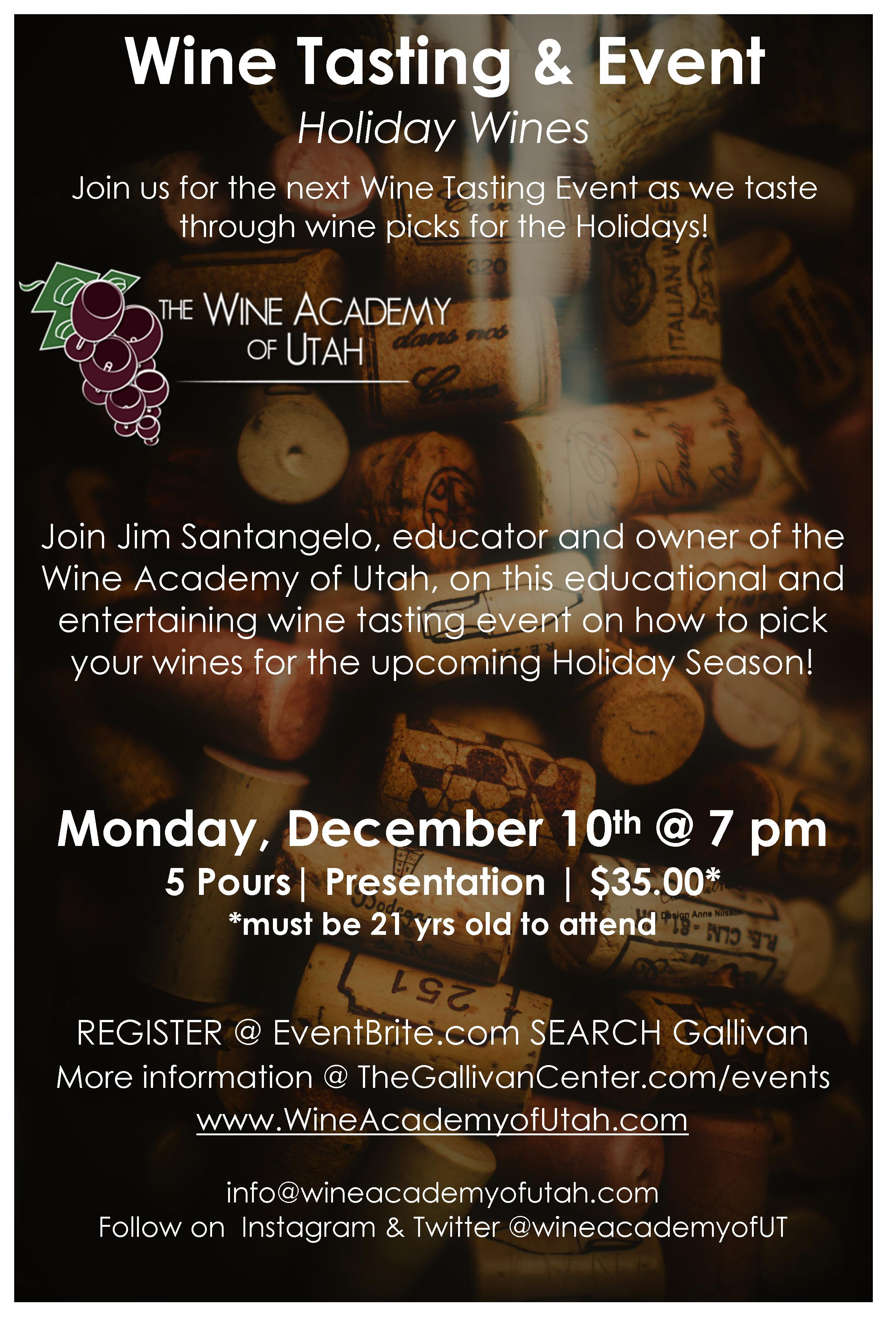 Holiday Wines: Educational Tasting Event